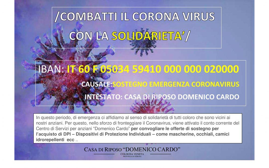 COMBATTI IL CORONAVIRUS CON LA SOLIDARIETA'