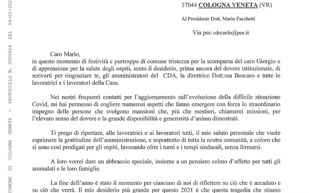 NOTA: DEL SINDACO DI COLOGNA VENETA (VR), A TUTTO IL PERSONALE DELL'ENTE 04/01/2021