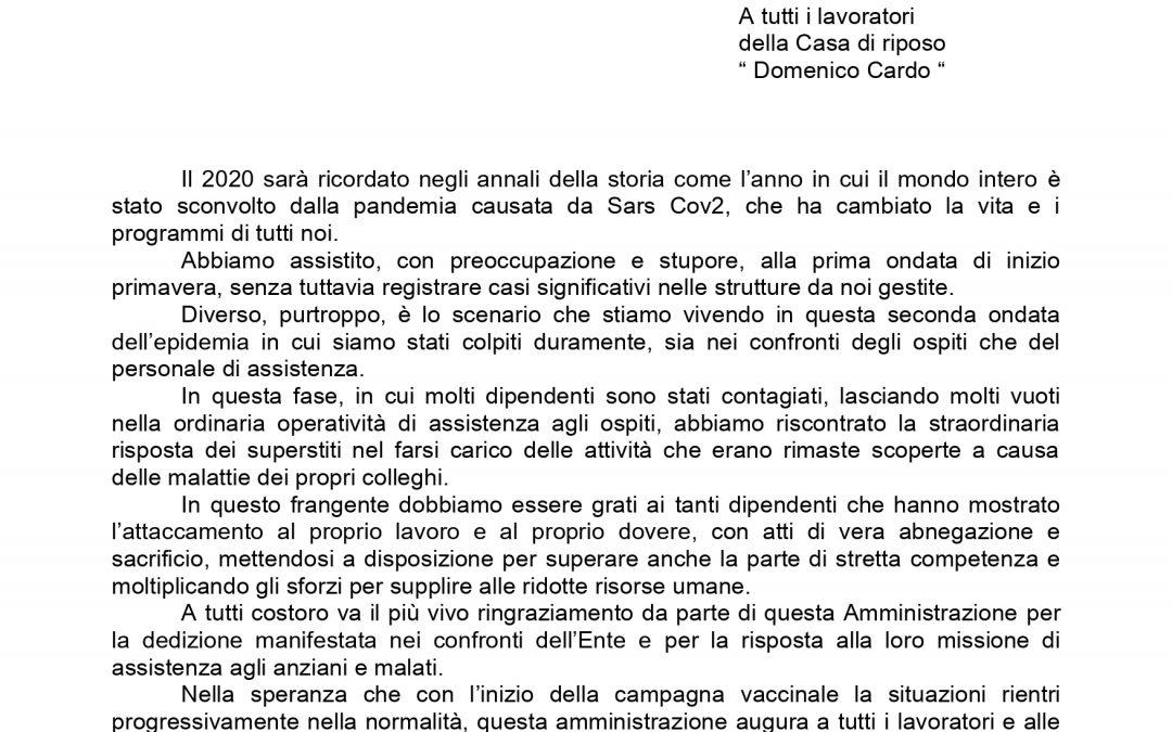 LETTERA DI RINGRAZIAMENTO AI NOSTRI LAVORATORI 02/01/2021